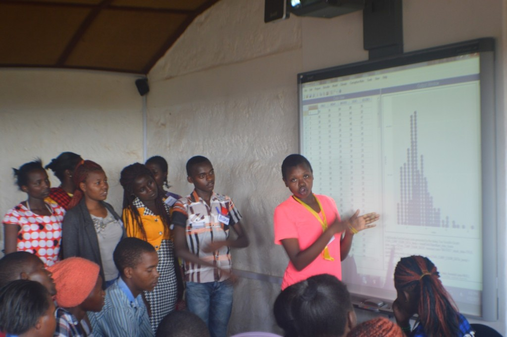 High School students making a presentation of their findings after analysing data using R-Instat