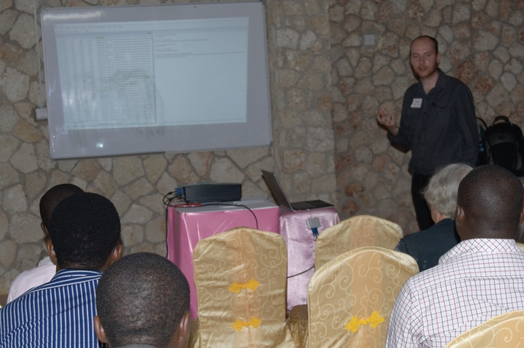 Danny Parsons making a presentation in Tanzania about R-Insat's use in analysing procurement data in a bid to identify corruptions risks.