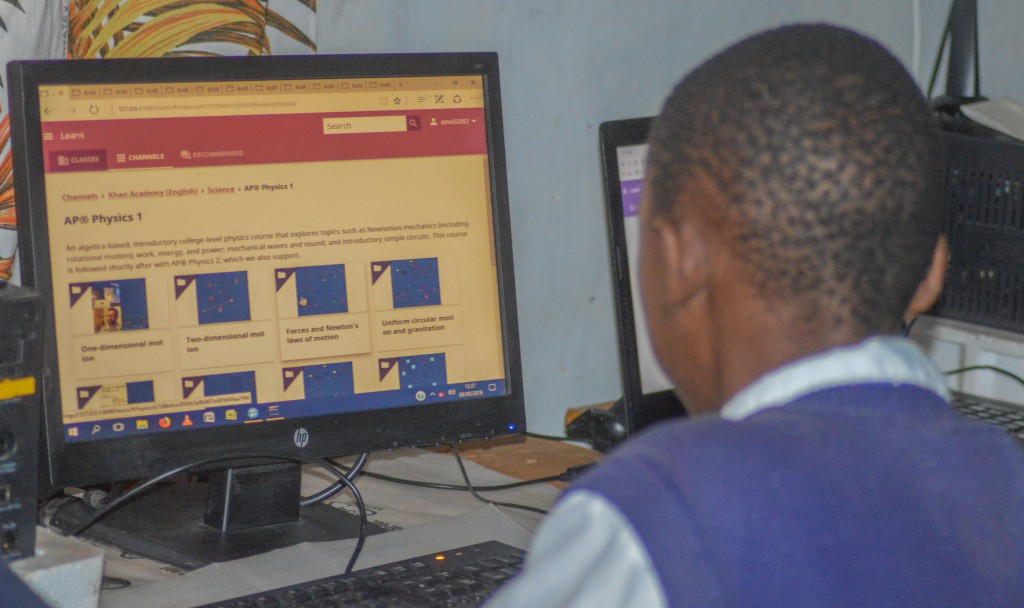 Emmatsi Secondary students using Open Learning Resources available on Kolibri to study.